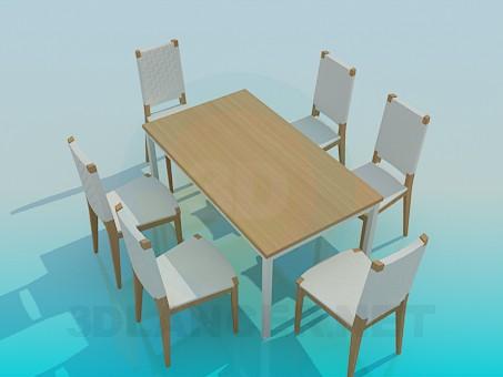 3d модель Обідній стіл зі стільцями – превью
