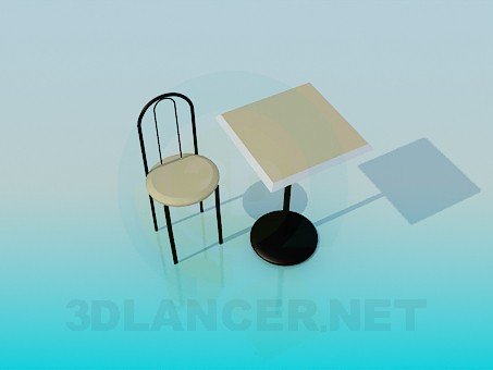 3d modeling Tea table with chair model free download