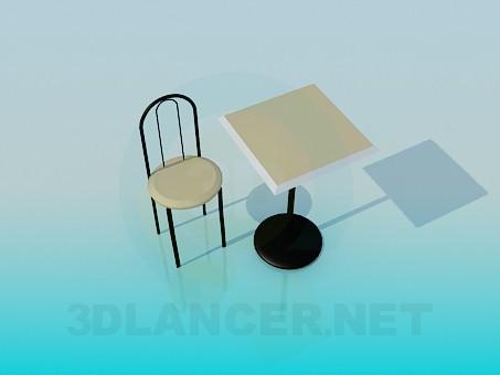 3d модель Чайный столик со стулом – превью