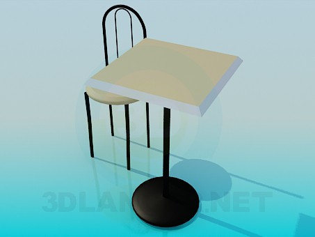 3d model Tea table with chair - preview