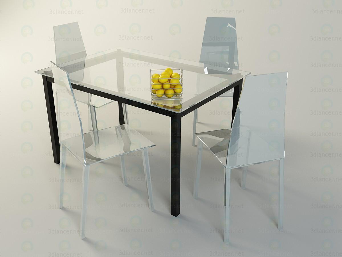 modelo 3D Mesa + sillas - escuchar