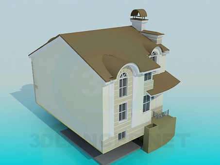3d modeling Two floored house with basement model free download