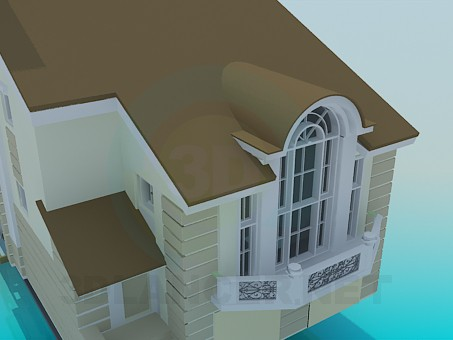 3d model Two floored house with basement - preview
