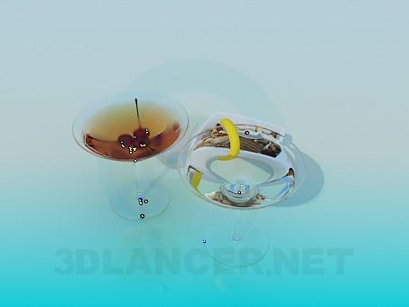 3d моделирование Два коктейля и орешки модель скачать бесплатно