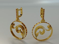 Earrings with stones and pattern