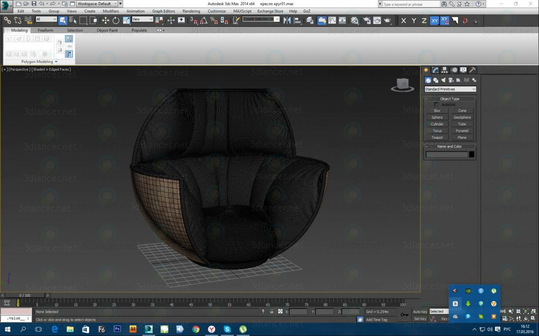 3d Armchair Black Tulip model buy - render