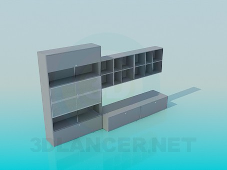 3d model Cupboard with horizontal doors and shelves for books - preview