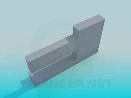 modelo 3D Armario con puertas horizontales y estantes para libros - escuchar