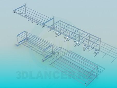 3d модель Металлические полочки с крючками на кухню – превью