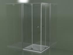 Cabina doccia senza telaio RA + RA con anta battente per piatti doccia angolari