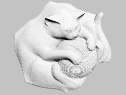 Pannello decorativo in gesso a forma di gatto con una palla Thomas