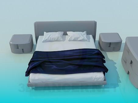 modelo 3D Una cama, Cajonera y armarios en kit - escuchar