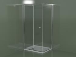 Cabina doccia senza telaio RA + RF con porta a battente per piatti doccia angolari