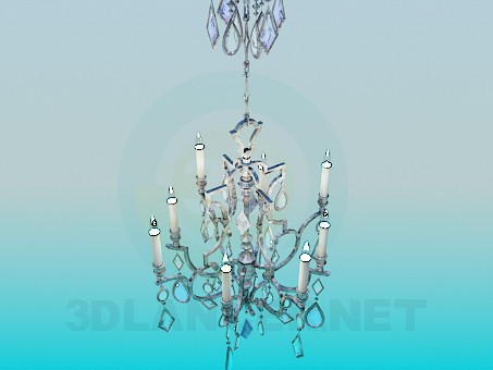 3d modeling Chandelier decorated with crystals model free download