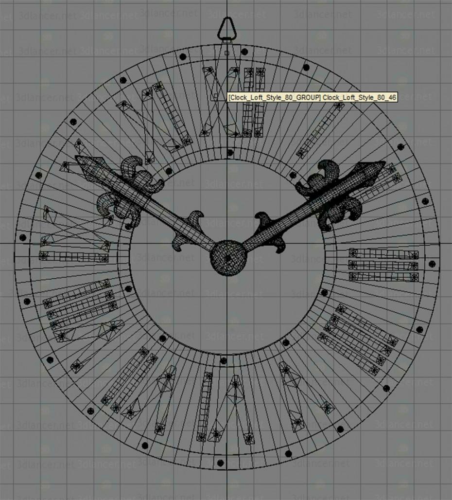 Reloj de pared Loft estilo 80 3D modelo Compro - render