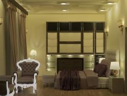 पूरा फर्नीचर मध्य पूर्व शैली के साथ बेडरूम इंटीरियर दृश्य