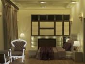 Интерьер спальни, сцена полностью с мебелью в стиле Ближнего Востока
