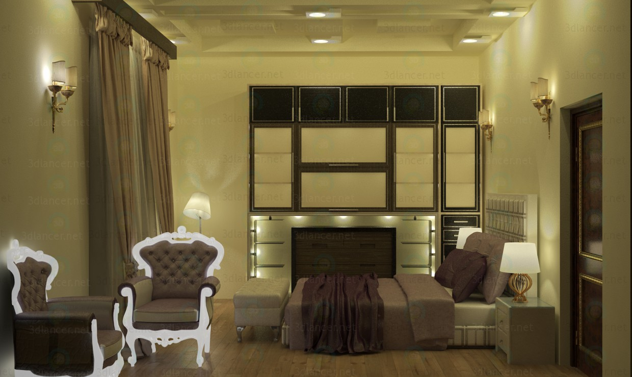 3d model Bedroom Interior scene with complete furniture Middle east style - preview