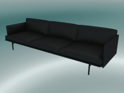 Sofa 3.5-seater Outline (Refine Black Leather, Black)