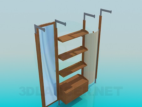 3d model Coat rack with shelves - preview