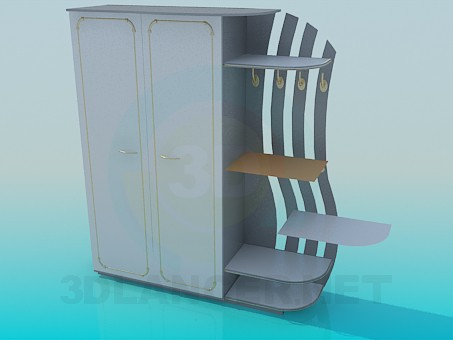3d model Cupboard with external shelves - preview