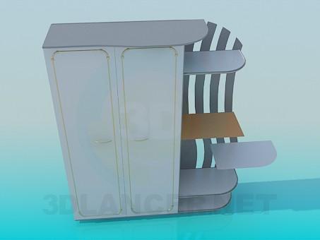3d модель Шкаф с внешними полочками – превью