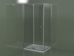 Cabina doccia senza telaio RN + RG con porta a battente con pannello fisso aggiuntivo