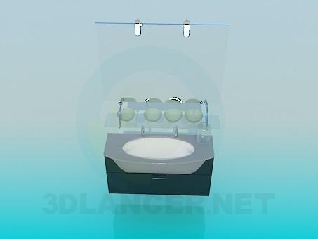 3D Modell Waschbecken mit Spiegel und Sockel - Vorschau