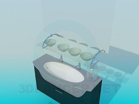 modelo 3D Lavabo con espejo y pedestal - escuchar