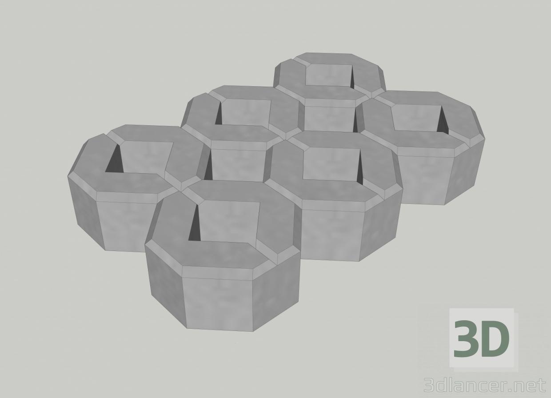 3d Ecological parking from a concrete lattice model buy - render