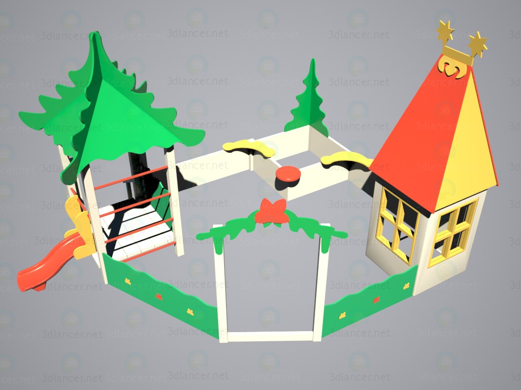 "3d modeling Sandbox with a slide ""Little House on the skirt"" model free download"