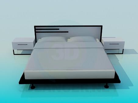 modello 3D Letto con comodini in stile di minimalismo - anteprima