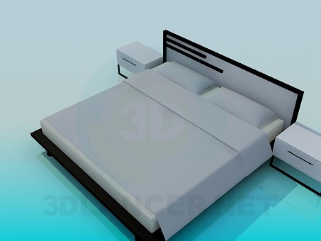 3d model Bed with bedsides in the style of minimalism - preview