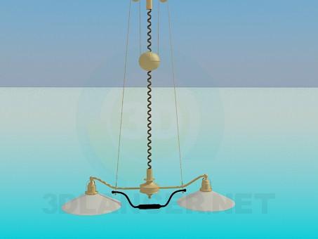 3d модель Люстра з плоскими плафонами – превью