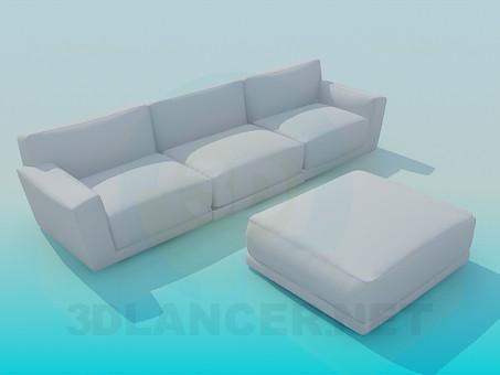 modelo 3D Sofá y banqueta - escuchar