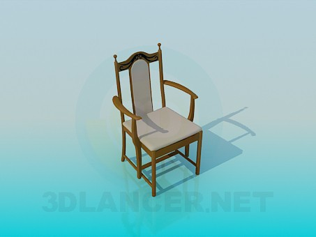 3d model Classic chair with armrests - preview