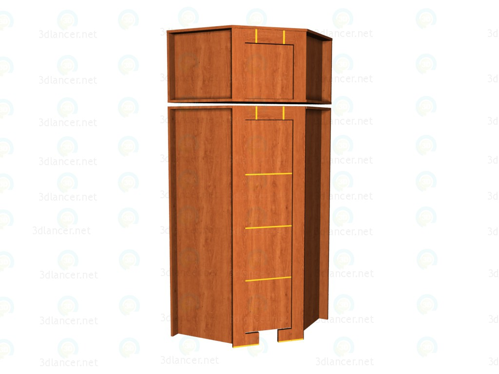 3d model Corner wardrobe with an extension - preview