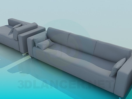 3d model Sofa, chair and sofa in the set - preview