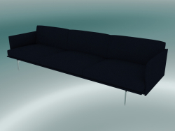 3.5-seater sofa Outline (Vidar 554, Polished Aluminum)