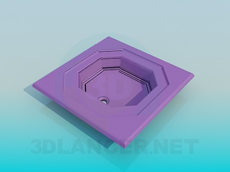 modelo 3D El tazón de fuente octagonal - escuchar