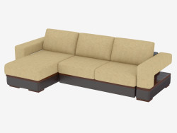 Corner sofa with combined upholstery