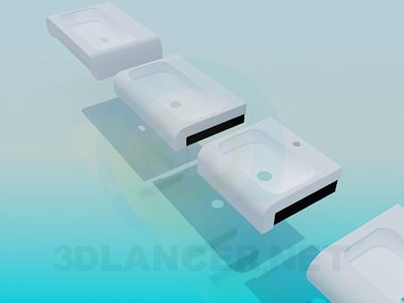 modelo 3D Conjunto de cuencas de lavado - escuchar