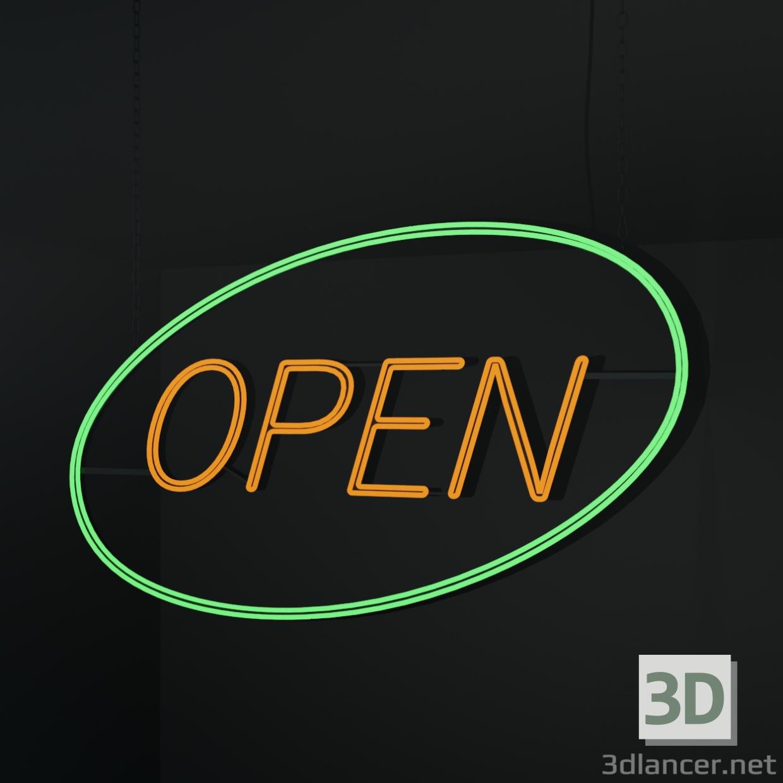 """3d """"Open"""" neon sign. model buy - render"""
