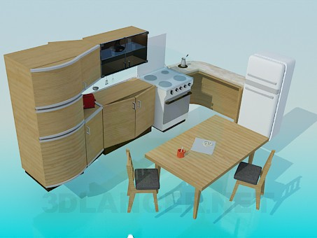 3d model Furniture and appliances in the kitchen - preview
