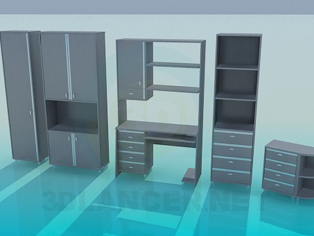 3d model Living in a study - preview