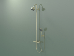 Shower pipe with thermostat and 3jet overhead shower (34640250)
