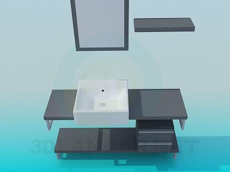 3d моделювання Раковина на тумбі з ящиками модель завантажити безкоштовно