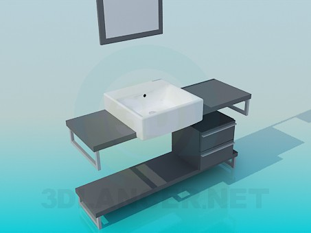 3d model The sink cabinet with drawers - preview