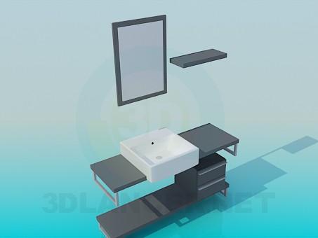 modelo 3D El mueble fregadero con cajones - escuchar