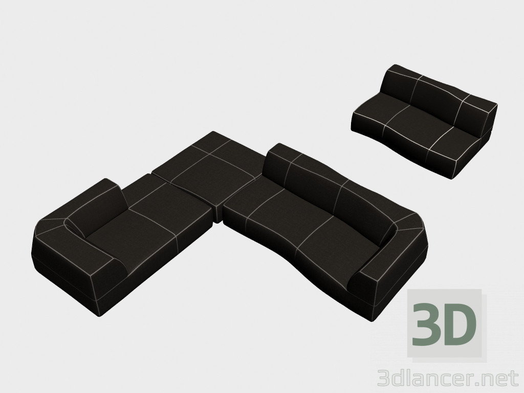 Modelo 3d sofás modulares Curva del fabricante B&B Italia Bend ID 18572